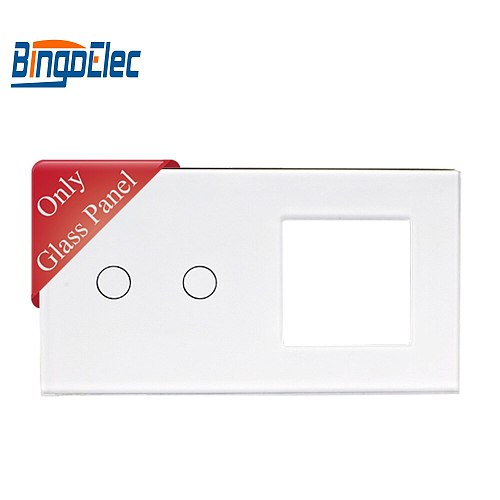Bingoelec Toughened Glass Panel 2G with 1 Frame Three Color Crystal Glass Panel,86*157mm