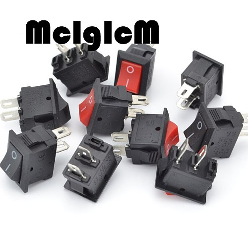 20pcs Mini Rocker Switch SPST Black and Red Snap in Switches Button AC 250V 3A / 125V 6A 2 Pin I/O 10*15mm On-off Switch Rocker
