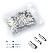600/150/100/50Pcs Butt Wire Connector AWG 22-10 Copper Tinned Splice Crimp Terminal Sleeve Bare Terminals Crimping Connector Kit