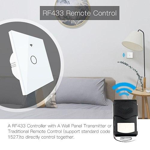 WiFi Smart Switch RF433 Remote Control Glass Panel Light Switch Smart Life Tuya Works With Alexa Echo Google Home 1/2/3 Gang