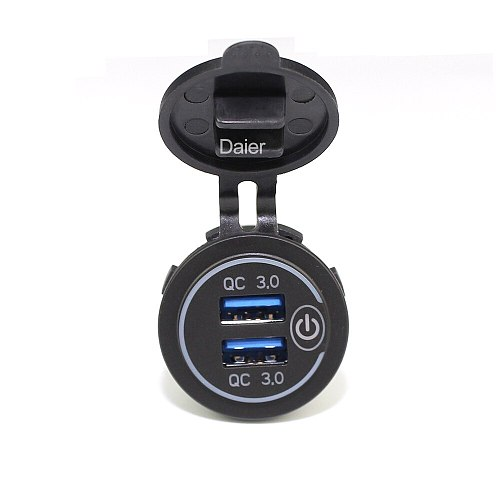 18W 3.1A Car Charger Quick Charge 3.0 Universal Dual USB Adapter Socket Power With Touch Switch For Car Mobile Phone Blue LED