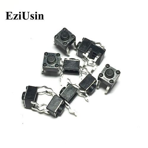 EziUsin 100pcs 6*6*4.3 Panel PCB Momentary Tactile Tact Push Button Micro Switch 4 Pin DIP Light Touch  6x6x4.3 mm Keys Keyboard