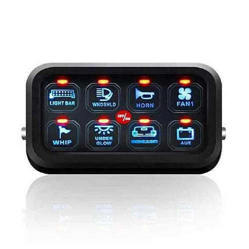 Blue LED 8 Gang Switch Panel Circuit Control Relay System Box Slim Touch Control Panel Box for Truck Boat Jeep ATV UTV Caravan