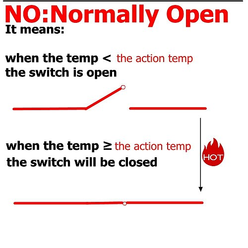 2 PCS Thermal Switch 40C 50C 80C 60C 100C NO NC Normally Open Closed 250V 5A 10A Thermostat Sensor Temperature Control Switches