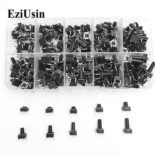 EzUsin10 models 6*6 Tact Switch Tactile Push Button Switch Kit Height: 4.3 5~13MM DIP 4P micro switch 6x6 Key switch For Arduino