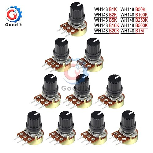 WH148 5Pcs/lot 1K 10K 20K 50K 100K 500K Ohm 15mm 3 Pin Linear Taper Rotary Potentiometer Resistor for Arduino with AG2 White cap