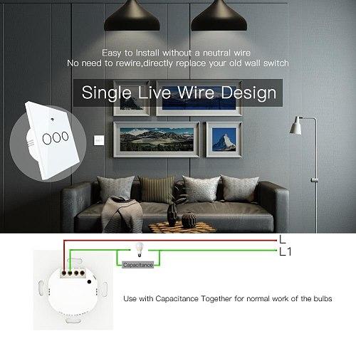 No Neutral Wire Needed WiFi RF433 Smart Wall Switch Smart Life Tuya Remote Control Single Fire Work with Alexa