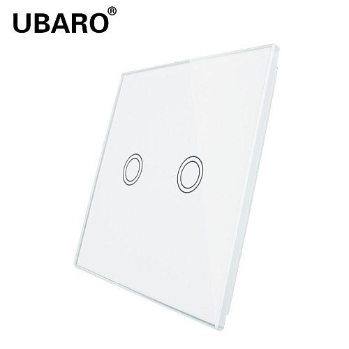 UBARO 86*86mm White Black Gold Tempered Crystal Glass Panel Screen Multiple Patterns To Choose1/2 / 3Gang