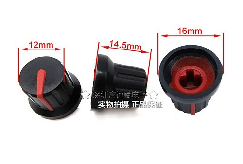 10pcs Two-color plastic knob volume potentiometer black bottom red standard diameter 16MM-12MM high 14.5MM half shaft hole 6MM