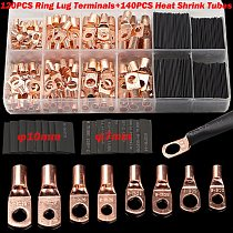 60/240/260CPS Assortment Car Auto Copper Ring Terminal Wire Crimp Connector Bare Cable Battery Terminals Soldered Connectors Kit