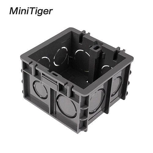 Minitiger High Strength Mounting Box Internal Cassette 82mm * 76mm * 50mm For 86 Type Switch and Socket, Black Wiring Back Box