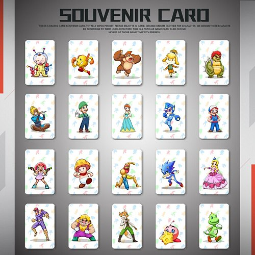 Amiibo Card for Mario Kart 8 Deluxe Games for Switch NFC ntag215 card- Whole Set 20PCS