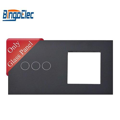 Bingoelec EU standart White Black Gold Crystal Glass Panel Three Buttons And 1 Frame,157*86mm