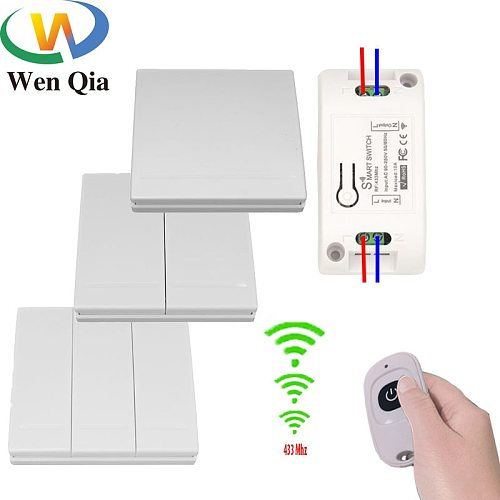 Wenqia 433Mhz switch Universal Wireless Remote Control  AC 220V 10Amp 1CH RF Relay Receiver  Transmitter for LED/Light/fan lamp