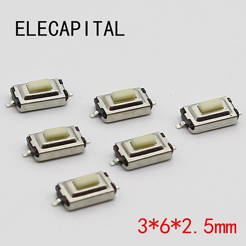 50pcs/lot SMT 3x6x2.5MM 2PIN Tactile Tact Push Button Micro Switch G73 Self-reset Momentary Free Shipping