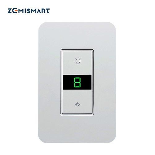 Zemismart WiFi US Dimmer Switch 110V 240V for Light with Display Screen Smart Life Alexa Google Home Enable