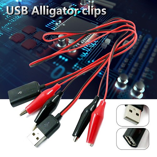 USB Alligator Clips Male Or Female To USB Tester Detector Voltage Meter Ammeter Capacity Power Meter Monitor Holding Wire Set