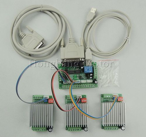 CNC mach3 Router 3 Axis Kit,TB6600 3 Axis Stepper Motor Driver Controller kit 4.5A + one 5 axis breakout board