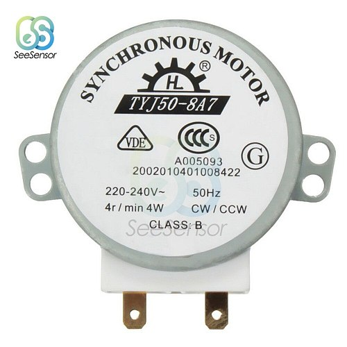 220-240V 4W 50Hz CW/CCW Microwave Turntable Synchronous Motor for Air Blower TYJ50-8A7 49TYZ-A2 Microwave Oven Tray Motor