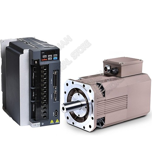 High Speed 8000rpm 3.7kw 5HP 23.3Nm AC Servo Spindle Motor Drive Kits 178mm 3PH 380V Constant Power CNC Lathe Milling Grinding