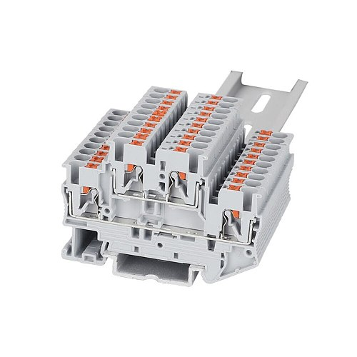 Din Rail Terminal Block PTTB-2.5 Electrical Wiring Connector Double Layer Spring Connection Wire Conductor 10pcs Terminal Block