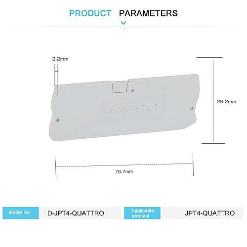 D-PT4-QUATTRO End Cover  for PT4-QUATTRO Din Rail Terminal Blocks End Cover plate  76.7x26.2x2.2 mm