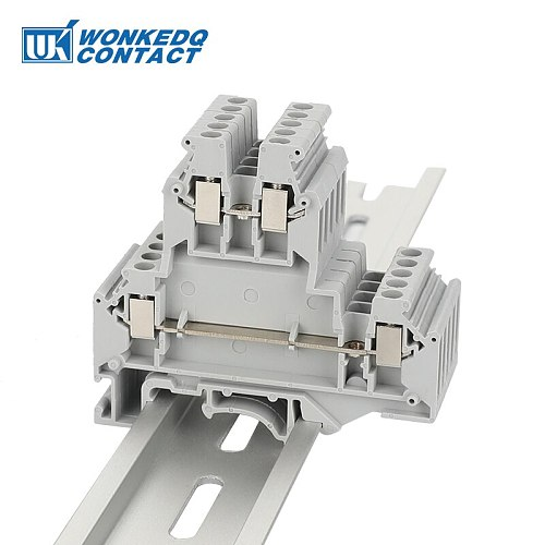 10Pcs UKKB-3 Din Rail Terminal Blocks  Connector Double Layer Terminal Screw Wiring UKKB3 wire connector  screw terminal block