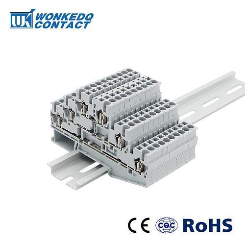 Terminal Block Din Rail 10Pcs ST-2.5-3L Spring 3 layers Level    Connectors Return Pull Type  Screwless ST2.5-3L