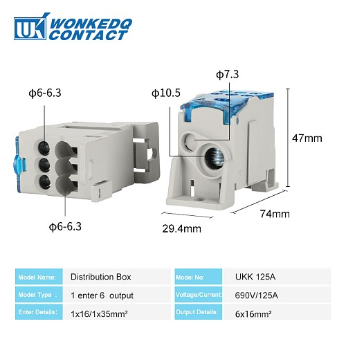 UKK125A Din Rail Terminal Blocks One in several out Power Distribution Box Universal Electric Wire Connector Junction Box