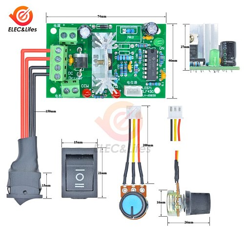 DC 6-30V 10A L0371 Reversible Motor Speed Controller 80W High Torque Adjustable PWM Speed Regulator Control Switch Potentiometer