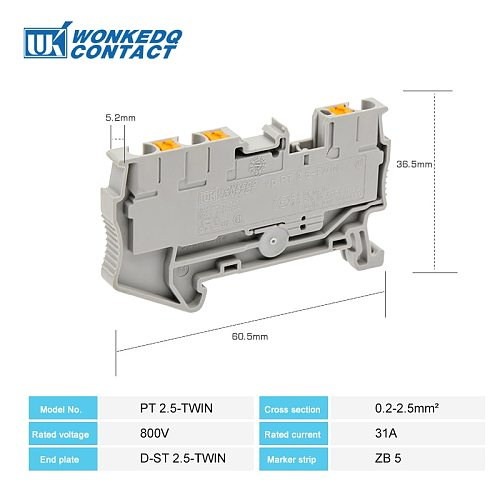 Din Rail Terminal Block PT 2.5Twin 3 Conductors Push In Spring Screwless Feed Through Wire Conductor 50pcs wire connector