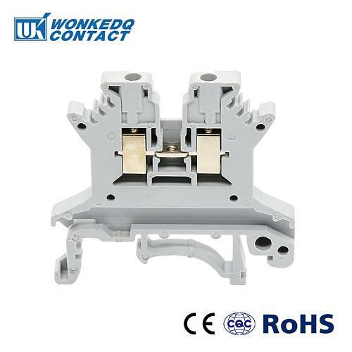 100pcs Din Rail Screw Terminal Block UK-1.5N Universal Class Connector Wire Connector Block Terminal Contact Blocks Strips