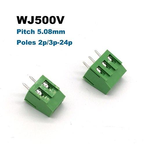 30/50/100pcs Pitch 5.08mm Screw PCB Terminal Block Connector Straight Pin 2P 3P WJ500V blocks connectors morsettiera 300V 10A