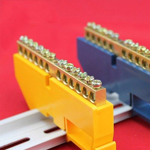 1pc Bridge Design Line 6 8 10 12 Positions 6x9 Copper Grounding Strip Terminal Block Connector Distribution cabinet Blue Yellow
