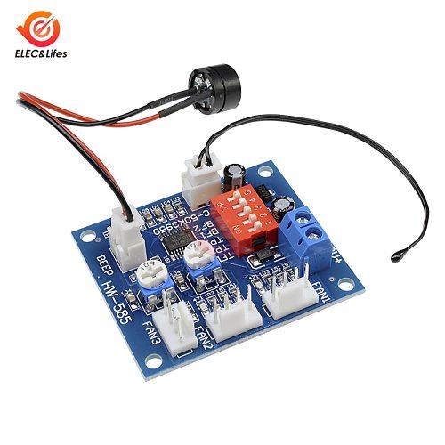 NTC 3950 Thermistor PWM Fan Temperature control Speed Controller Module 12V 4-wire High-Temp Alarm Buzzer PC Computer CPU Fan