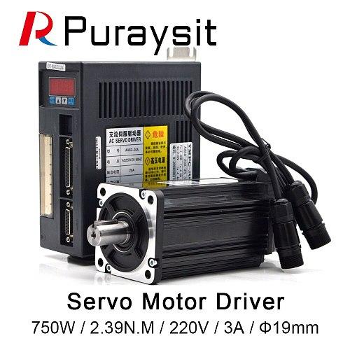 WaveTopSign Servo Motor Driver 750W AC Servo Motor 80ST-M02430+AC Servo Motor Driver 220V AASD 20A  for CNC Engraver And Cutting