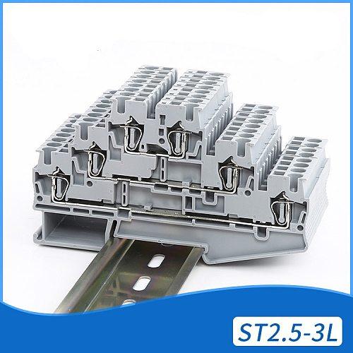 10pcs Phoenix Type DIKD1.5 24-12AWG Din Rail Wiring Connector for sensor 3-layer Modular Modular Terminal Blocks DIKD-1.5