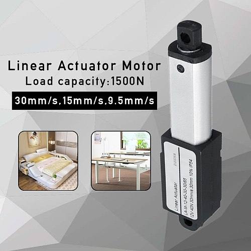 Aluminum Alloy 1500N 30mm Stroke Micro Linear Actuators Linear Actuator DC 12V Electric Mini Linear Motor 30mm/s 15mm/s 9.5mm/s