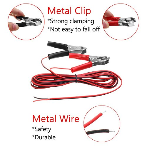 2 pcs of 300cm Length 3A  Red+Black Color Alligator Clip Wiring Copper Plated Insulated Car Battery Clips Alligator Clamps