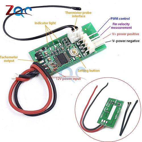 DC 12V PWM Temperature Detector Probe Controller 4-Wire Temperature Fan Speed Controller Governor for PC Fan STK IC