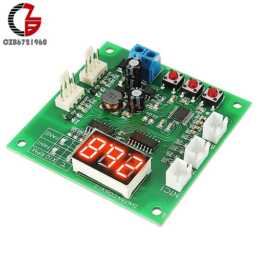 2 CH 4 Wire LED Digital PWM Motor Speed Controller Fan Temperature Controller PC Fan Thermostat with Buzzer Alarm DC 12V 24V