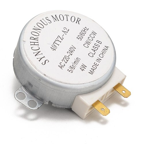 Microwave Oven Synchronous Motor 49TYZ-A2 AC 220-240V CW/CCW 4W 4 RPM Synchronous Motor with 2 Pins Terminals