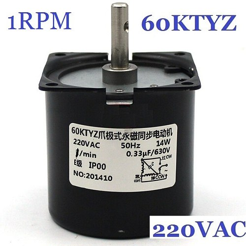 60KTYZ 1RPM (actual speed:1.2RPM) Low Noise Gearbox Electric Motor Barbecue High Torque Low Speed 220v Synchronous AC Motor