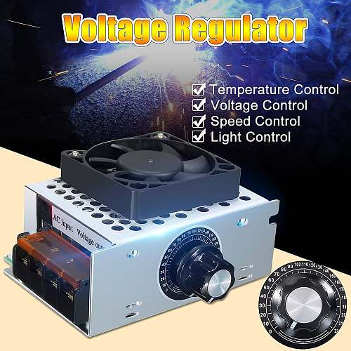 SCR Temperature Voltage Regulator With Fan Big Power Brightness Dimmer AC Electric Regulator Motor Speed Controller 220V 4000W