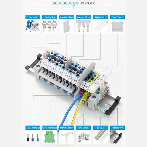 10pcs PT 2.5  Spring Universal Push In Connection Din Rail Terminal Block 800V, 31A , 24-12AWG , Connector Wire Conductor