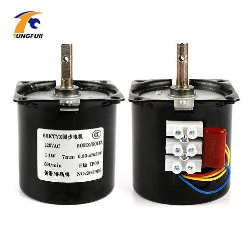 220V AC 14W Micro Gear Motor 60KTYZ 50Hz Permanent Magnet Synchronous Gear Motor Low Speed 2.5 5 10 15 20 30 50 60 80 110 rpm