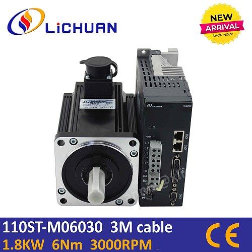 Driver servo motor kit 110ST-M06030B 6Nm 1.8KW servo motor AC220V 3000rpm speed control 1.8kw servo for woodworking CNC router