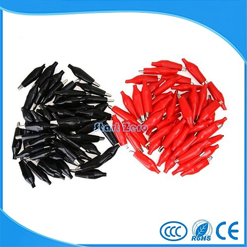 100Pcs 36mm Alligator Leads Crocodile Test Clip for Electrical Jumper Wire Cable