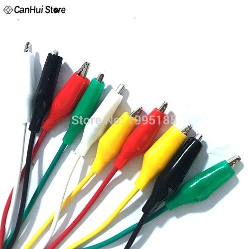 10Pcs 5 colors 50cm Length 35MM Double-ended Alligator Clips Jumper Wire Test Clips DIY Test Cable Test Folder Test Hook Clip