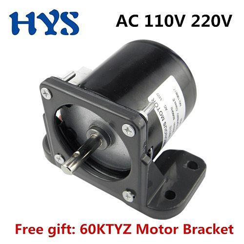 Synchronous Motor AC 220V 110V 14W Gear Electric Motors 220 V Volt Free 60KTYZ Motor Mount Bracket Fixed Holder Speed Reducer